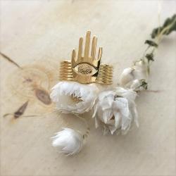 Bague romantique et bohème doré • Bague main et oeil Manojo Marine Mistake • Boutique de bijoux Les inutiles