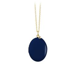 Collier Médaillon photo or et bleu marine • Idée cadeau de mariage • Bijouterie Les inutiles