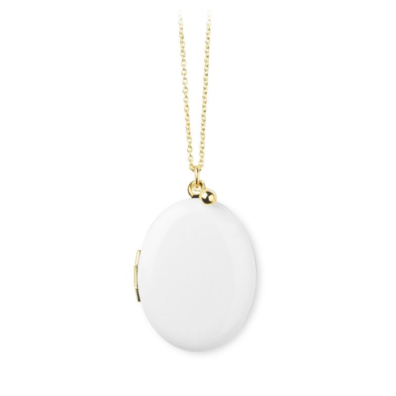 Sautoir Médaillon photo Blanc Trois Petits Point • Bijoux idée cadeau pour mariage ou naissance • Boutique Les inutiles
