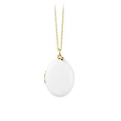 Collier petit médaillon photo blanc Trois Petits Points • Bijoux de créateurs boutique en ligne Les inutiles