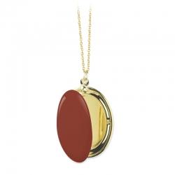 Médaillon Photo Brique orange marron - Sautoir Cassolette - Collier Trois Petits Points Boutique Les inutiles