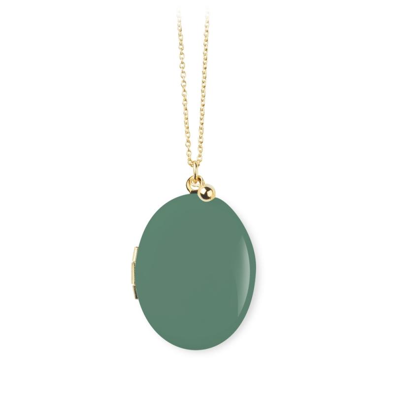 Pendentif photo vert clair, collier qui s'ouvre, bijoux avec photo • Boutique Les inutiles
