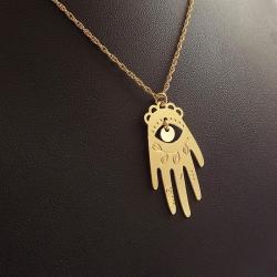 Collier Main de fatma, pendentif khamsa, khmissa, Khomsa, tafust, amulette, talisman et bijou protection contre le mauvais œil