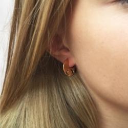 Boucles d'oreilles pacman yeux dorés • Bijoux fait à la main, fabriqué en France • créatrice Marine Mistake • Les inutiles