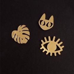 Trio de pin's doré chat monstera oeil • bijoux Marine Mistake • Boutique Les inutiles • idées cadeaux