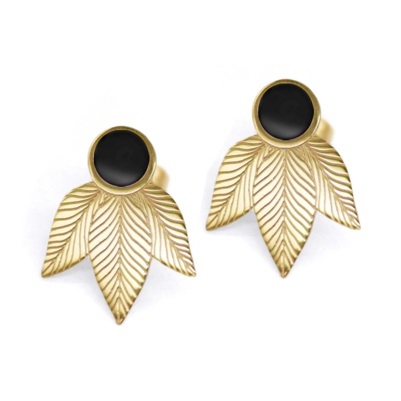 Boucles d'oreilles plumes noires • puces tige poucette dorées motif feuille • Boutique de cadeaux et bijoux à Loches