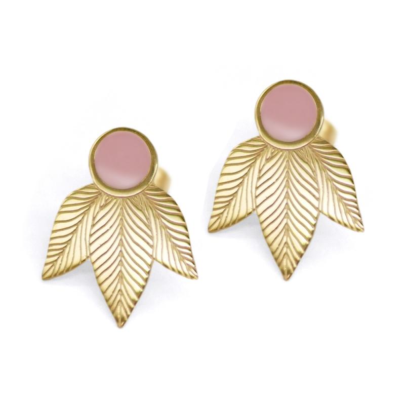 Boucles d'oreilles feuilles roses • Bijou Plume doré à l'or fin en acier • Boutique de créateurs de Bijoux Les inutiles