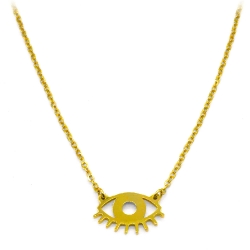 Collier Twiggy or • pendentif oeil doré • Bijou yeux mystique • eshop créateurs et bijou Les inutiles