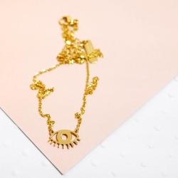 Collier Œil doré • Pendentif Twiggy en acier inoxydable • Bijoux de qualité • Bijouterie à Loches • Boutique Les inutiles