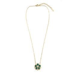 Collier Sakura Vert • Pendentif Fleur de cerisier Dorée • Bijou collection Japon • Bijouterie Créateur Les inutiles