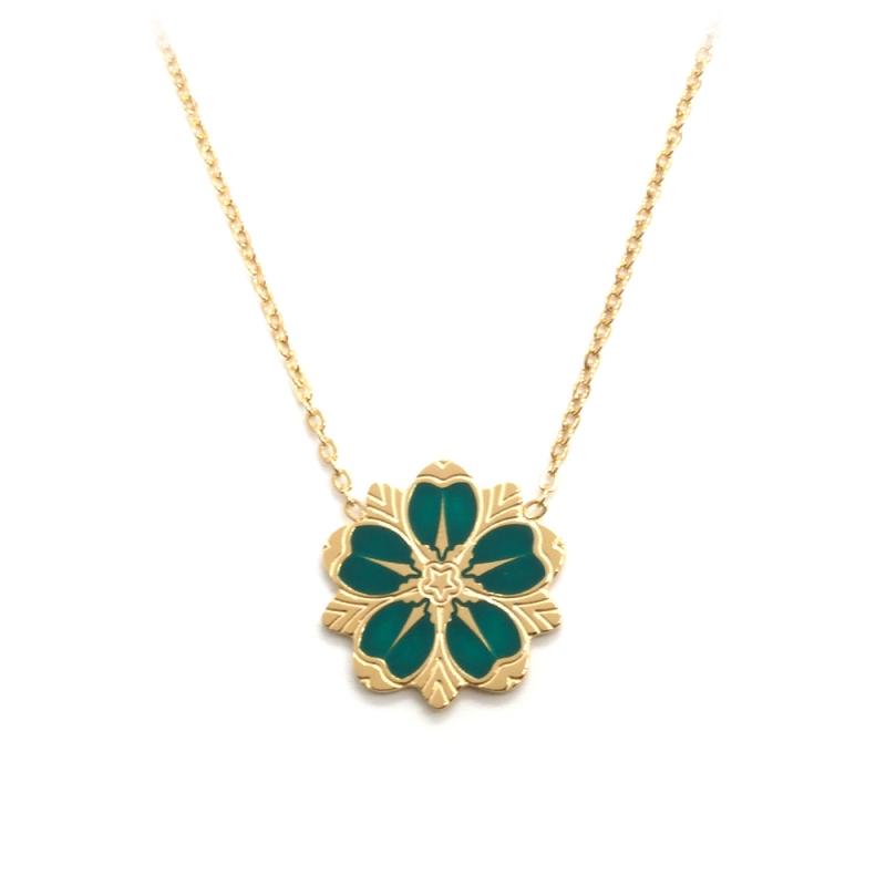 Collier Fleur de cerisier Doré • Pendentif Sakura émaillé vert • Bijoux japon collection japonaise • Boutique Les inutiles