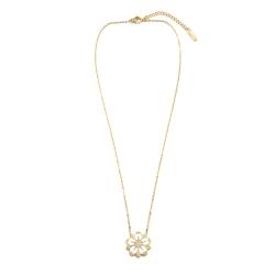 Collier Sakura Pendentif fleur de cerisier blanc et doré • Idée cadeau porte-bonheur • eshop bijoux Les inutiles