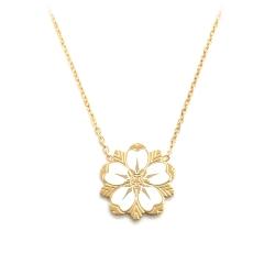 Pendentif Sakura fleur de cerisier or et blanc • Collier à porter lors d'un mariage idée cadeau jeune maman • Les inutiles
