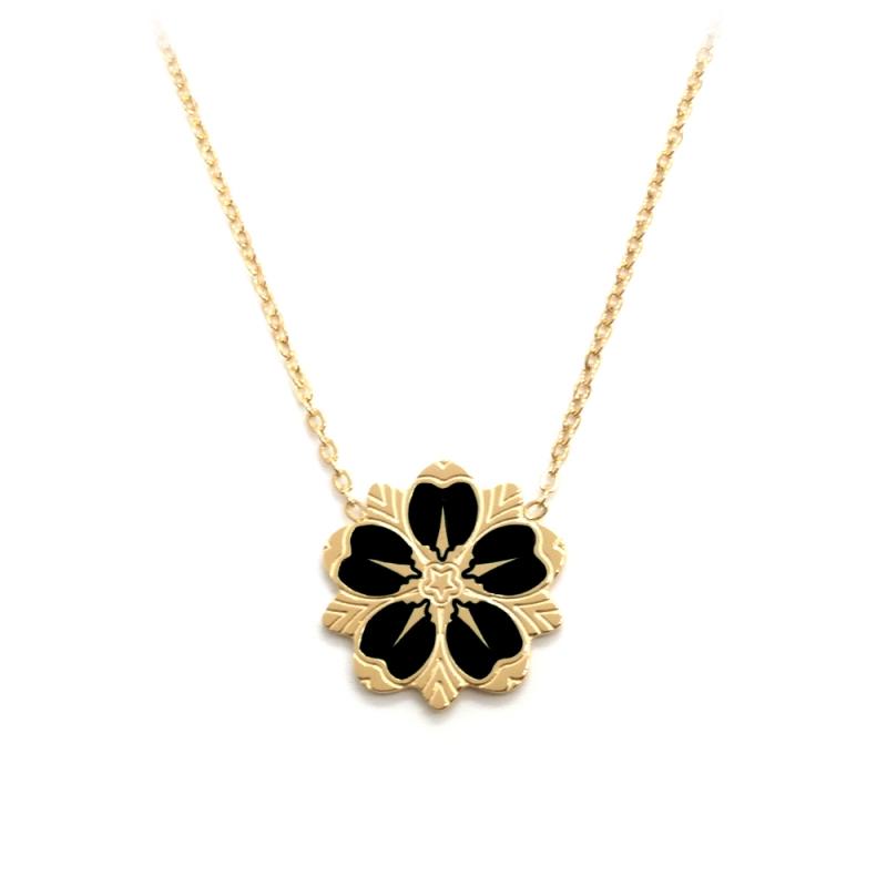 Collier Sakura Noir • Pendentif fleur de cerisier collection japonaise • Bijoutier à Loches • eshop créateurs Les inutiles