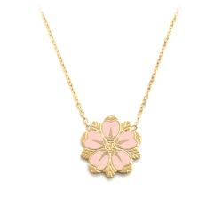 Collier Sakura doré • Pendentif Fleur de cerisier rose • Bijoux porte-bonheur et idées cadeaux • Boutique les inutiles