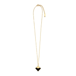 Collier art déco • Pendentif carré noir en acier inoxydable doré • Boutique de bijoux de créateurs et cadeaux d'anniversaire