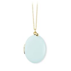 Pendentif Médaillon Photo Bleu ciel • Sautoir personnalisé Bijoux avec photo • Collection Trois Petits Points • Les inutiles