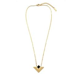 Pendentif Susan Noir et doré • Collier géométrique, épuré, élégant à porter tous les jours • Bijoux tendances actuelles