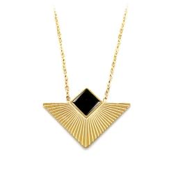 Collier or et noir géométrique • Pendentif Art Déco Graphique • Bijou triangle • Boutique de créateurs Les inutiles