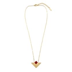 Pendentif triangulaire en acier inoxydable doré • Collier élégant et épuré rouge bordeaux • Boutique de créateur de bijoux