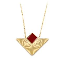 Collier triangle doré et rouge bordeaux • Pendentif géométrique graphique • Collection bijoux fantaisie élégants et de qualité