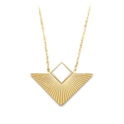 Pendentif triangle blanc et or • Collier géométrique minimaliste épuré et élégant • Collection de bijoux haute fantaisie