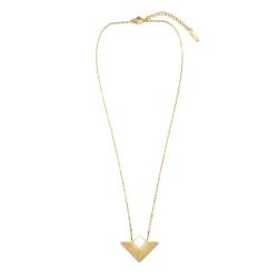 Collier triangulaire blanc et acier inoxydable doré • pendentif graphique et sobre • Bijoux de créateurs Les inutiles