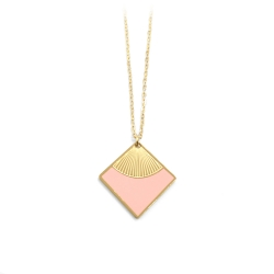 Collier Carré Doré à l'or fin • Pendentif art déco rose • bijoux simple et minimaliste épuré • Boutique créateurs Les inutiles