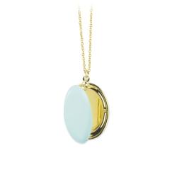 Médaillon Photo Bleu Pastel • Sautoir Cassolette bijoux à personnaliser • Artisan Bijoutier Créateur Loches eshop Les inutiles