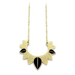 Collier cassandre Doré • Pendentif plume noires et feuilles or • Collection bijoux haute fantaisie • Bijouterie Les inutiles