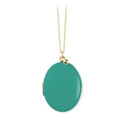 Médaillon Photo Vert Turquoise • Collier médaille personnalisé • Sautoir porte-bonheur cadeau naissance mariage • Lesinutiles.fr