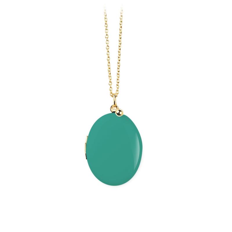 Sautoir Médaillon Porte-Photo Vert turquoise • Bijoux personnalisé bohème, mystique et romantique • Les inutiles