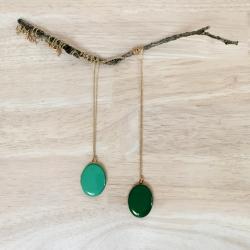 Sautoir vert Pendentif porte photo • Collier long médaillon personnalisable • Bijoux à cumuler bohème • bijouterie créateurs