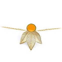 Bracelet Joséphine jaune moutarde feuilles gravées • bijoux en acier inoxydable • Boutique de cadeaux Les inutiles