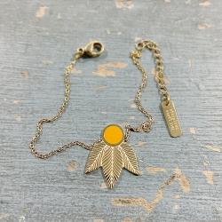 Bracelet doré motif feuilles et chaîne en acier inoxydable • Créateur de bijoux à Loches • Boutique Les inutiles