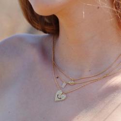 Collier Bohème Marine Mistake • Bijoux Talisman Pendentif Coeur doré à l'or fin • Boutique Les inutiles