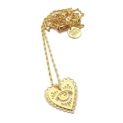 Collier Milagro Marine Mistake • Bijoux Coeur Or Pendentif oeil doré • Boutique Les inutiles