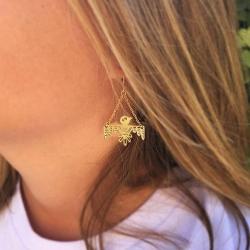 Boucles d'oreilles longues oiseaux dorés • Bijoux style ethnique amérindien création Marine Mistake • Boutique Les inutiles