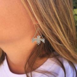 Boucles d'oreilles longues oiseaux argent • Bijoux style ethnique amérindien création Marine Mistake • Boutique Les inutiles