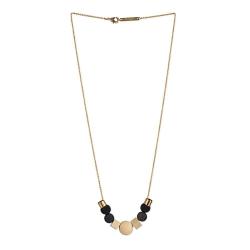 Collier long en perles de bois noir et chaîne dorée à l'or fin . Création Titlee Bijoux Paris • Concept store cadeaux