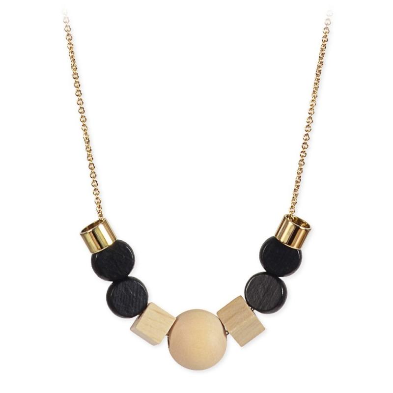 Collier Hasley en perles de bois et laiton doré • Bijoux Titlee créateur parisien • Boutique concept store Les inutiles