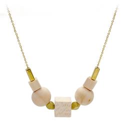 Collier Huntington de la marque de bijoux Titlee • Chaîne dorée à l'or fin et perles de bois • Bijouterie & cadeaux Les inutiles