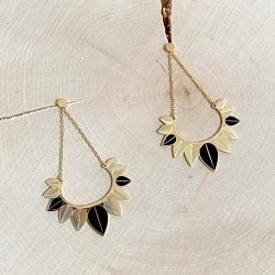 Boucles d'oreilles attrape rêve, plumes doré, couronne de feuilles • Bijou acier inoxydable • boutique bijouterie Loches