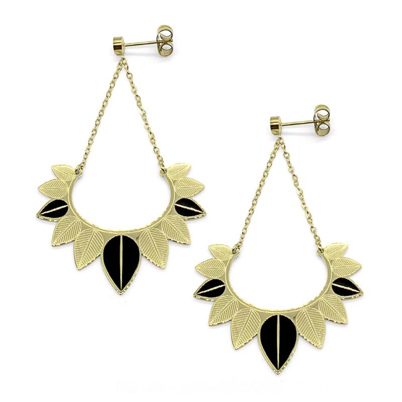 Boucles d'oreilles pendantes plumes noires et feuilles or • Collection bijoux haute fantaisie • Bijouterie Les inutiles
