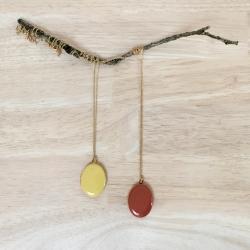 Médaillon porte photo, jaune et marron, collier photo, cadeau de naissance et marriage • boutique Les inutiles