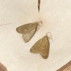 Boucles d'oreilles oversized papillon • Bijoux insecte artisanal boho et nature • Slow fashion Les inutiles