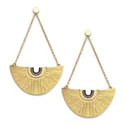 Boucles d'oreilles pendantes chainette Bamako or et noir • Bijoux éthniques et idées cadeaux boutique Les inutiles