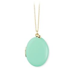 Collier porte photo turquoise médaillon qui s'ouvre • Sautoir médaille personnalisable Bijoux de créateur personnalisé