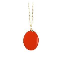 Médaillon porte photo rouge cardinal • Sautoir chaîne or et pendentif qui s'ouvre cassolette • Bijoux de créateurs Loches