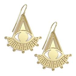 Boucles d'oreilles géométriques Big Cosmic Marine Mistake bijoux dorés à l'or fin • Collection oeil et pyramide bijou cosmique